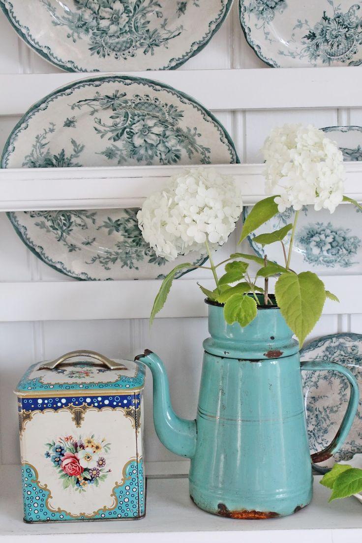 Vintage aquas and white.
