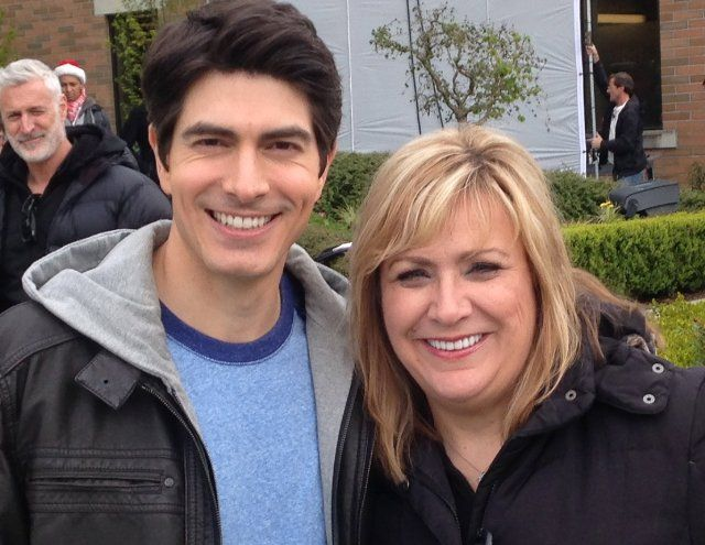 Sandra Montgomery, Brandon Routh on the set of NINE LIVES OF CHRISTMAS 2014