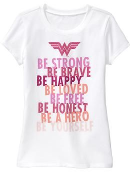 Love the messages on this Wonder Woman t-shirt from Old Navy. The pink and sparkles won't work for my daughter, but might be perfect for yours. Sizes XS-XXL.