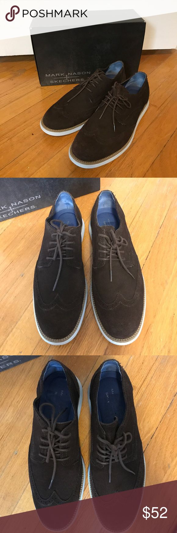 Mark Nason for Skechers Men's Wingtip Oxford Shoes Soft leather balance upper with lightweight bottoms- overall a lightweight and comfortable dress shoe. Perfect for everyday or going out. Brown top with a light blue bottom. Men's size 9. In great condition. Mark Nason Shoes Oxfords & Derbys