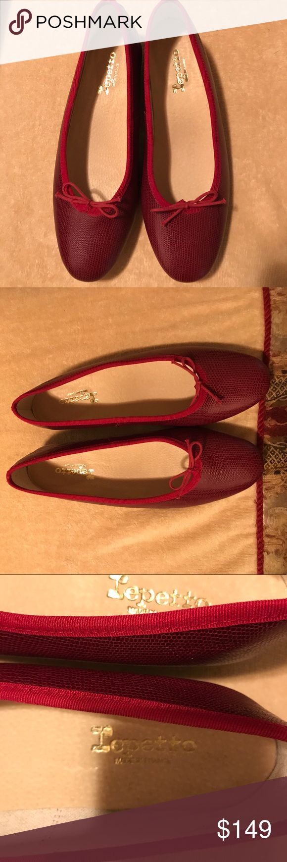🔴GORGEOUS REPETTO CRIMSON LOW HEEL SHOES 🔴 NWOT. REPETTO  SHOES ARE SYNONYMS WITH BEAUTY AND COMFORT. THESE LOW HEELED SHOES HAVE TEXTURED EXTERIOR SOLES , HAVE VELVET CORDING IN RED AND DAINTY BOWS. THE HEELS ARE MADE OF WOOD. MADE IN FRANCE. THERE IS A SMALL CREASE FROM STORAGE ON ONE IF THE HEELS. DEFINITELY DOES NOT AFFECT BEAUTY OR WEAR. NEVER BEEN WORN. LISTING IS OVER HALF THE RETAIL. Repetto Shoes Heels