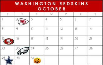 Washington Redskins October Schedule 2017  #WashingtonDC #Redskins #NFLSchedule #JordinsTurf