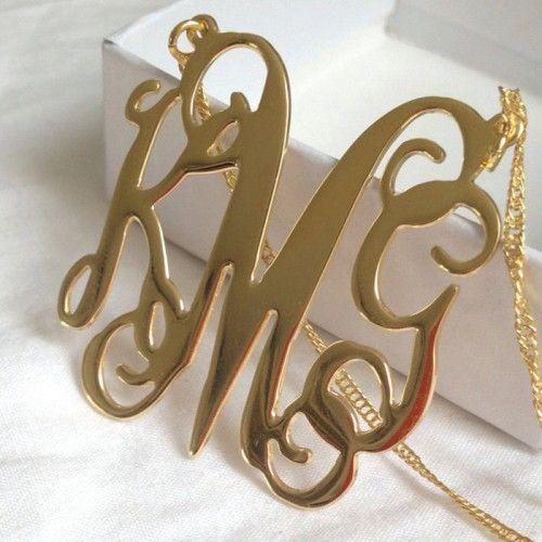 Free Shipping - LARGE Monogram necklace Gold, Monogram Gift, Monogrammed Initial, Gold Initial, Gold necklace, Monogram necklace, Bday gift