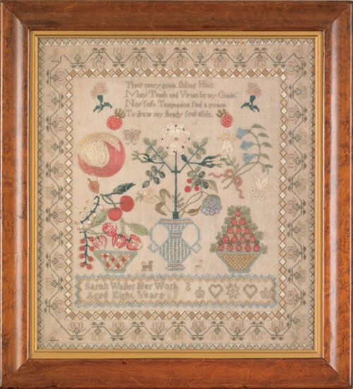 English silk on linen sampler, early 19th c., wrought by Sarah Waller