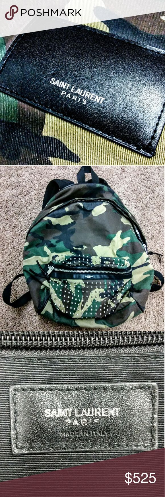 """Authentic Saint Laurent Camo hunting Backpack 2016 100% GENUINE: Yves Saint Laurent Paris Spring 2016 Nylon Canvas Camouflage Classic Hunting Backpack with metal studs. Retail value: $1290  The bag has been used- I miraculously found it at a garage sale! I will be having it professionally dry cleaned to ensure that it arrives with the """"brand new"""" feel that you expect & love.  There are no signs of wear/damage.. Customer satisfaction is my #1 priority so please if you have questions don't…"""