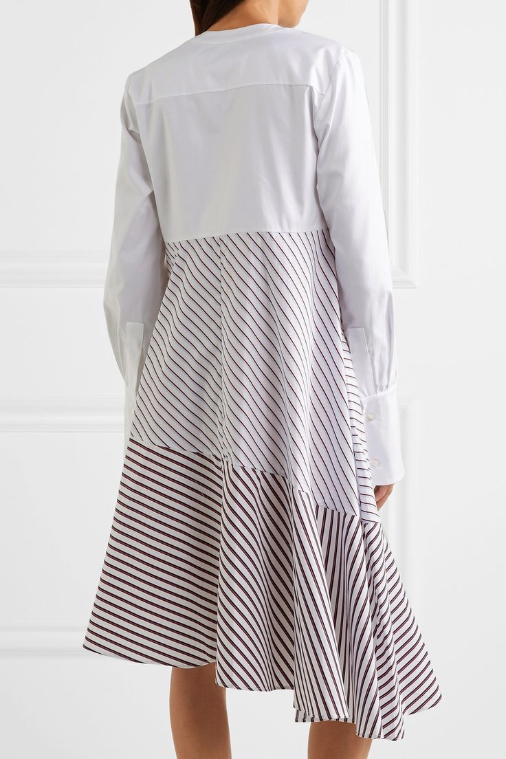 Carven | Asymmetric paneled striped cotton-poplin midi dress | NET-A-PORTER.COM