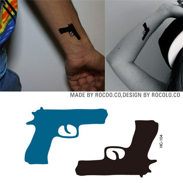 HC1104 Grosir Pola Pistol Cepat Palsu Tattoo Temporary Tattoo Stiker Tahan Air Pribadi Hip Hop Body Art Tattoo Flash