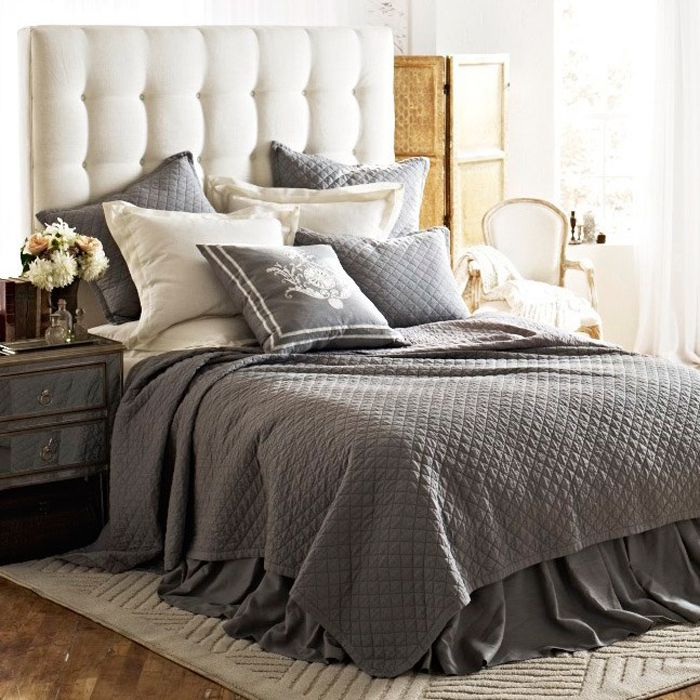 Awesome Bed Linen Decorating Ideas Part - 9: Lili Alessandra Emily Diamond Quilted Bedding Collection In Ash Gray Linen