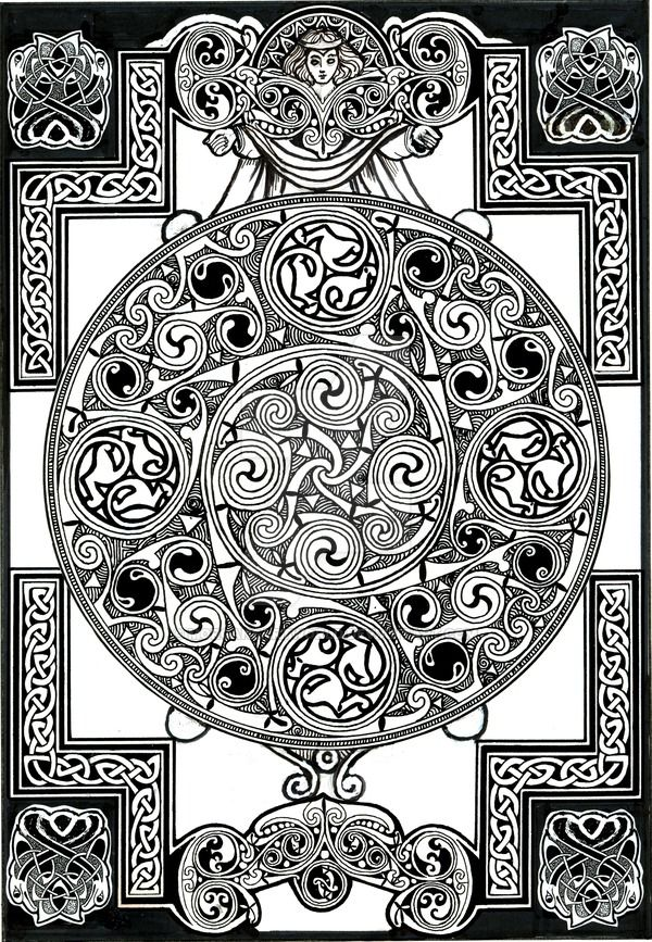 I might have a growing Thing for celtic knotwork. (inking with a really heavily-flowing brush pen is hard.)