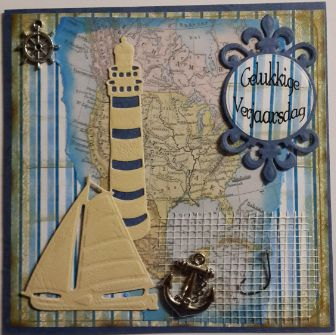 010_S14_Lighthouse and Yacht with Embellishments, Map Background and Sentiment. Handmade by Diane Prinsloo (Lubbe).
