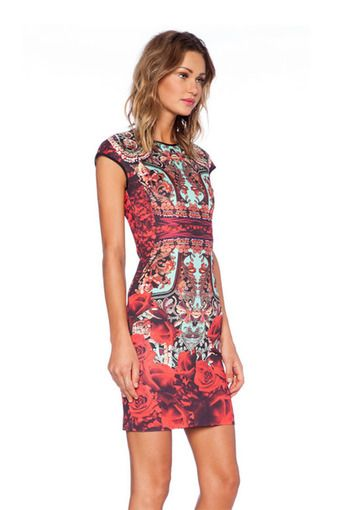 ZHENGQI Women's Flower Pattern Dress (Multi Color)(Export)(Intl)