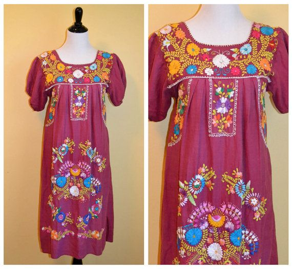 Hermosa Vintage de 1970 mexicano bordado vestido Hippie Boho Festival S pequeño mediano M Bohemia túnica