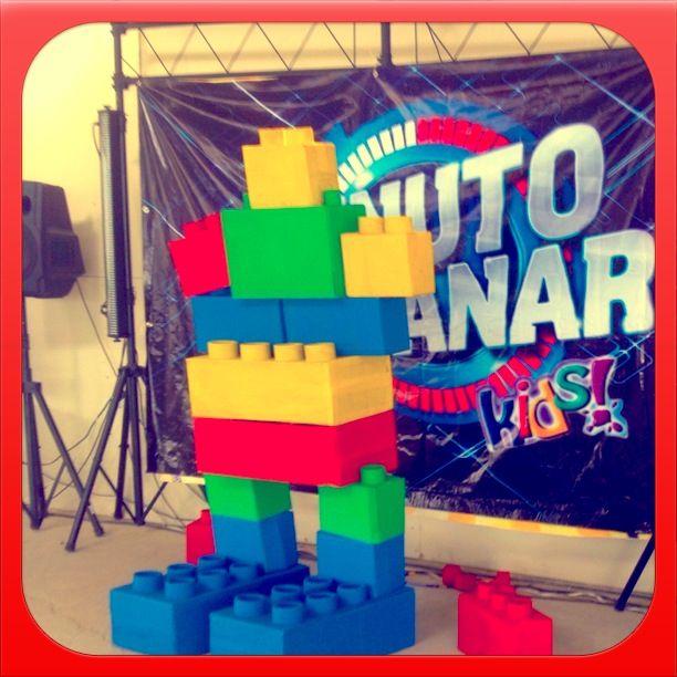 Legos brick  Big robot for a kids camping.