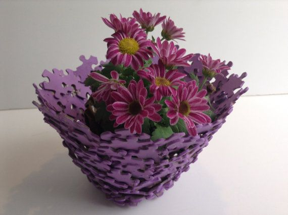 Purple jigsaw puzzle plant holder Etsy listing at https://www.etsy.com/listing/225436640/purple-jigsaw-puzzle-plant-pot