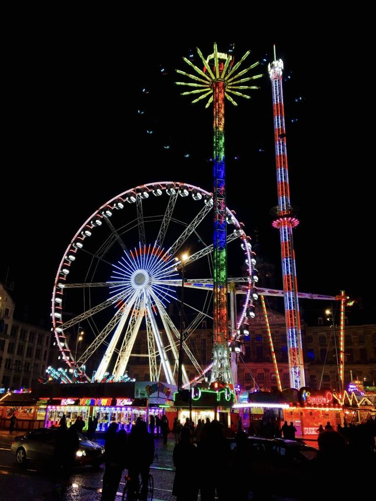 Dam Square carnival on King's Day in Amsterdam. Lots of great street food!