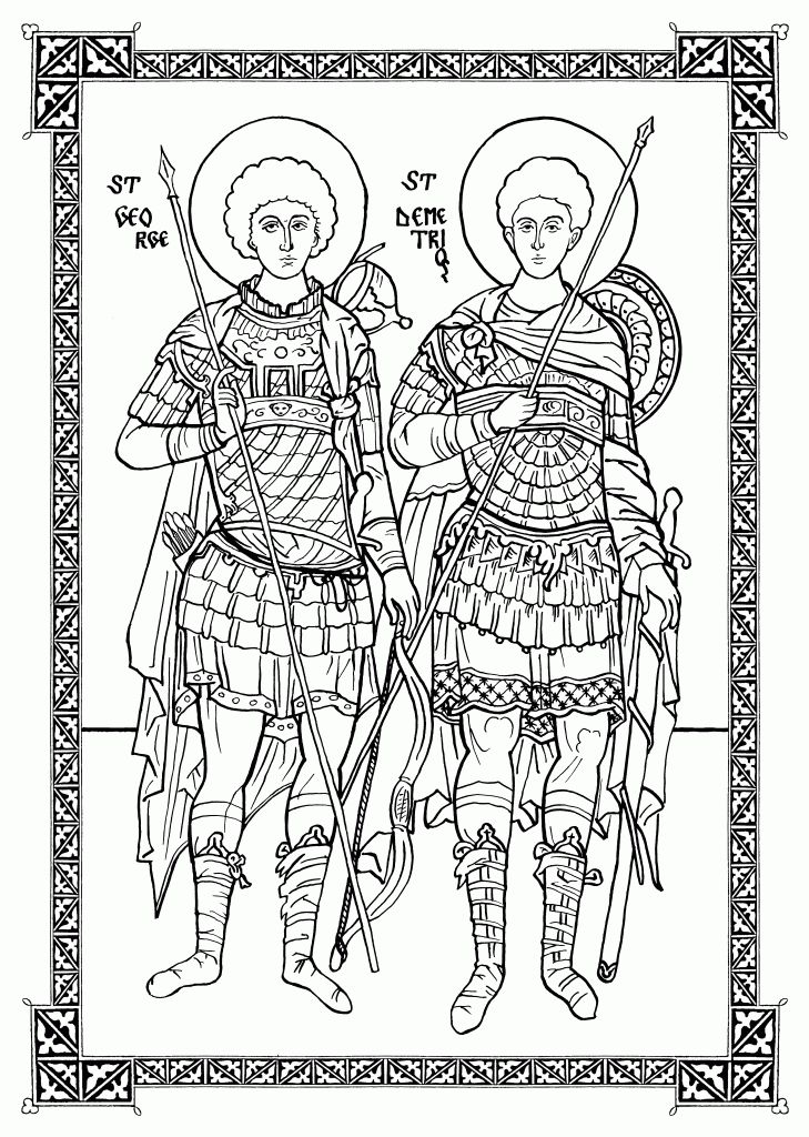 Sts. George and Demetrios,  pen and ink by Scott Patrick O'Rourke