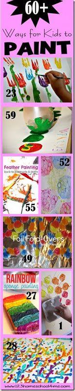 60 FUN, creative ways for kids to paint! Great summer activity for toddler, preschool, kindergarten, and elementary age kids! Great kids activities.