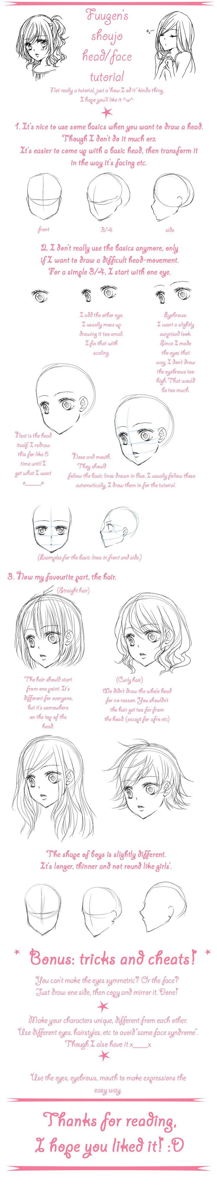 shoujo face/head walkthrough by *Fuugen