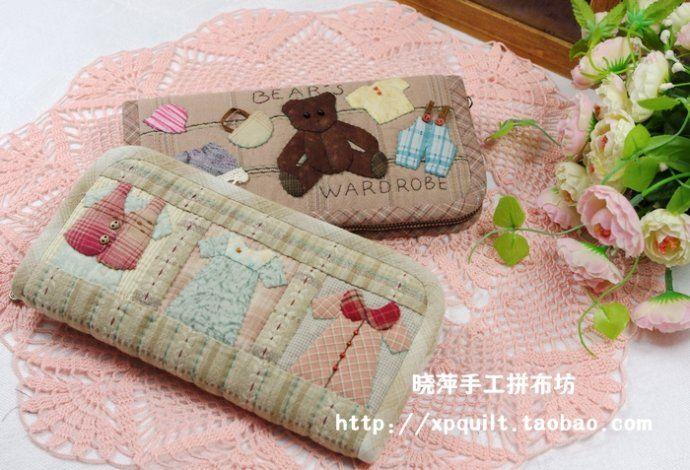 【晓萍手工拼布坊】长款钱包——小熊的衣柜and可爱衣服