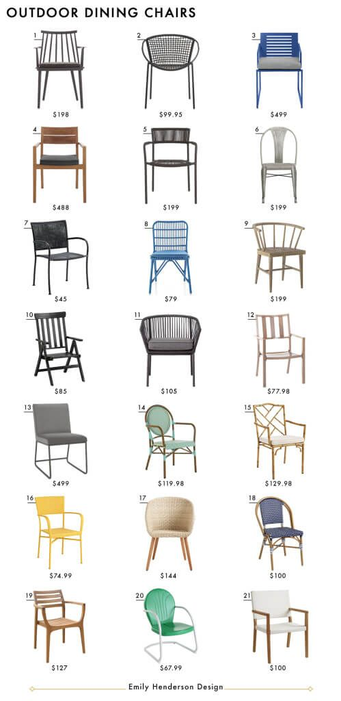 Outdoor Dining Chairs Emily Henderson Design Patio Furniture Roundup