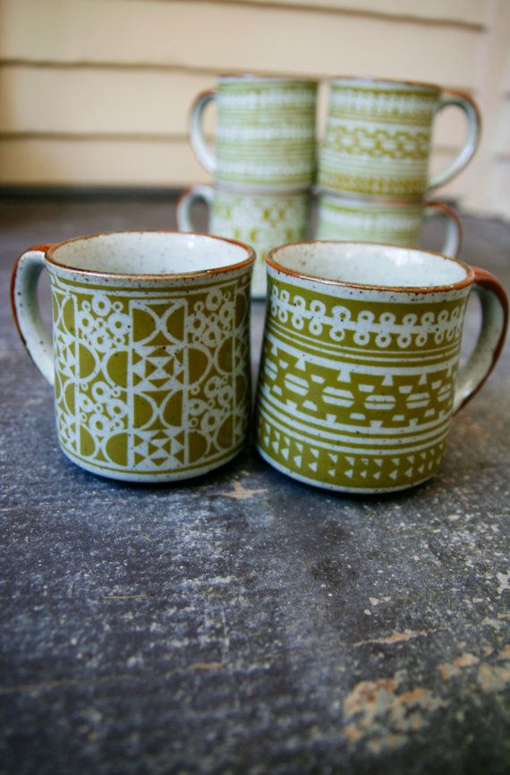 Set of 6 Vintage Green Stonewear Mugs with Geometric Pattern
