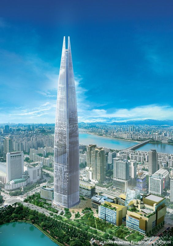 Lotte World Tower Seoul, 555.7 m | Structurally Topped Out, completion 2016 | Kohn Pedersen Fox Associates