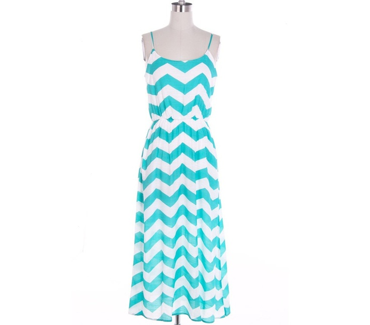 Mint Chevron Maxi Dress Causal Maxi Dress Long Dress Summer Long Dress. $39.99, via Etsy.