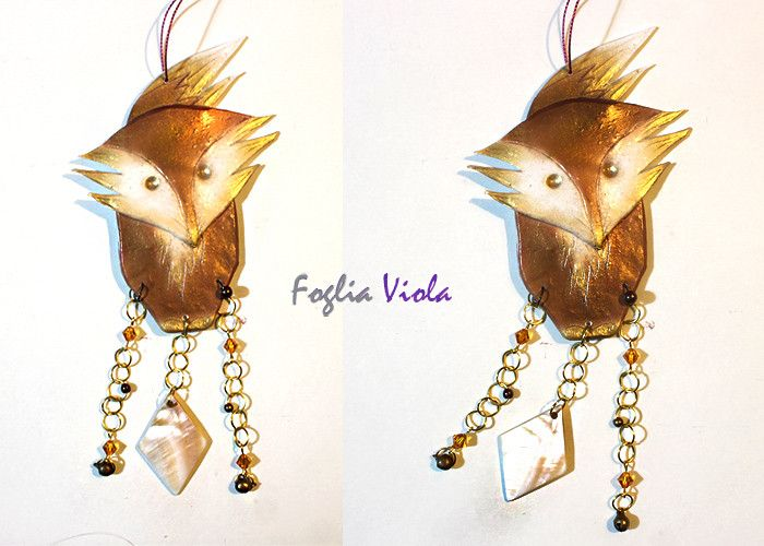Woodland Fox windchime   #decor #decoro #regalo #gift #idearegalo #fox #volpe #madreperla #motherpearl #woodland #windchime #forest #wildlife #handmade #unique #ooak