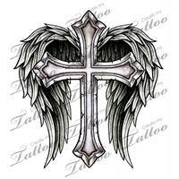 Marketplace Tattoo Cross with Wings #14700 | CreateMyTattoo.com                                                                                                                                                                                 More
