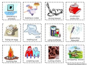 Physical vs. Chemical Change {FREE cut & paste... by More Time 2 Teach | Teachers Pay Teachers