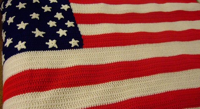 Knitting Pattern Abbreviations American : Crochet an American Flag Afghan or an American Flag Fridgie Crochet Pinte...