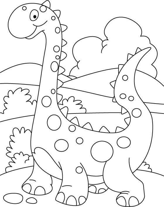 Walking cute dino coloring printout