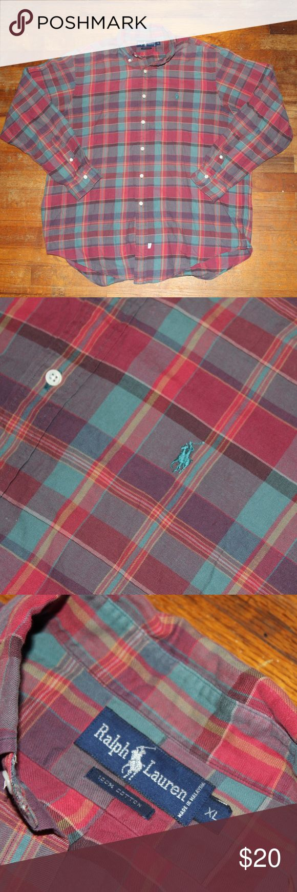 Polo Ralph Lauren Plaid Button-up Shirt Great condition 9/10   100% cotton, super soft. Size XL  All sales final. Please contact with any questions or offers! Polo by Ralph Lauren Shirts Casual Button Down Shirts
