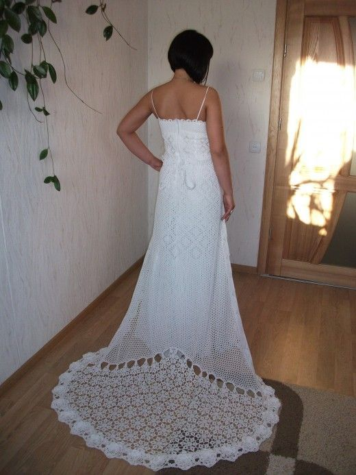 I love the drama on the train of this crochet wedding for Crochet lace wedding dress pattern