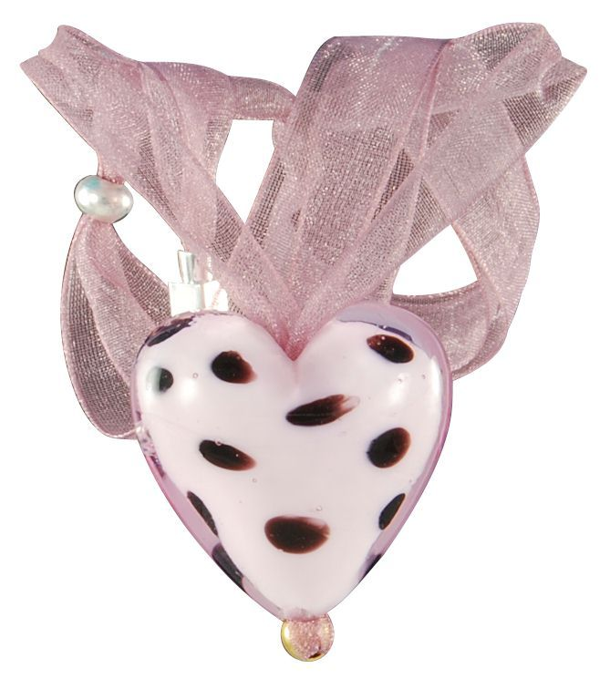 Captivating Murano glass pendant in pink tonality a dalmatian pattern. Colorful, bright, imaginative, customizable. Hand made in Italy with organza ribbon. Custom made jewelry in the classy Venetian style.