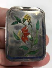 Amazing Chinese Export Silver & Floral and 5 Enamel Etched Decorations Snuff Box