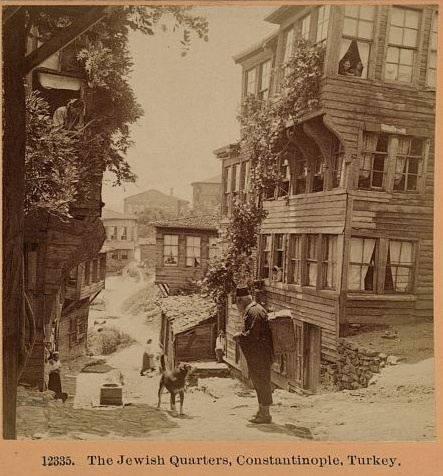 """Jewish Quarter in """"Constantinople,"""" today called Instanbul.  The name of the Turkish city was changed from Constantinople to Istanbul in the 1920s, which explains the caption on this 1898 photo.  The Jewish community in Turkey also dates back millennia. Tens of thousands of Jews from Spain found refuge in Turkey in 1492.  The Ottoman Empire which ruled the Middle East for 400 years usually provided a safe haven for its Jewish residents, with occasional outbreaks of anti-Semitic episodes."""