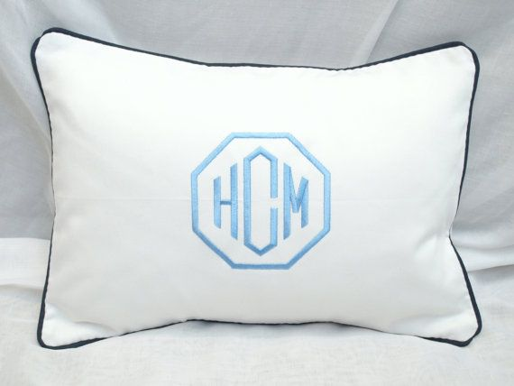This Custom monogrammed pillow adds such great personalization to any space. This listing is for one lumbar pillow cover sized 12 x 16 . The