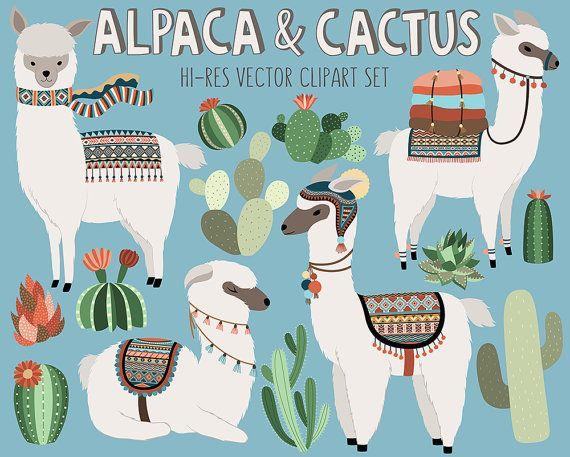 Kaktus und Lama Clipart – entzückende Alpaka und Wüste Vektor Clip Art Set – digitale Design-Elemente mit einzigartigen Tribal-Muster