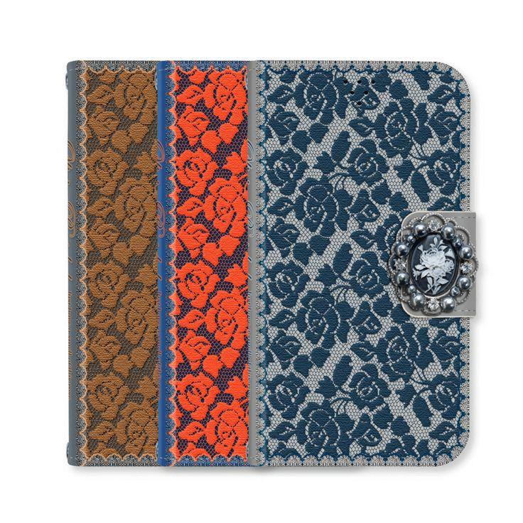 Full Set :  Olivia Wallet Case + Casa Flower Strap - Orange