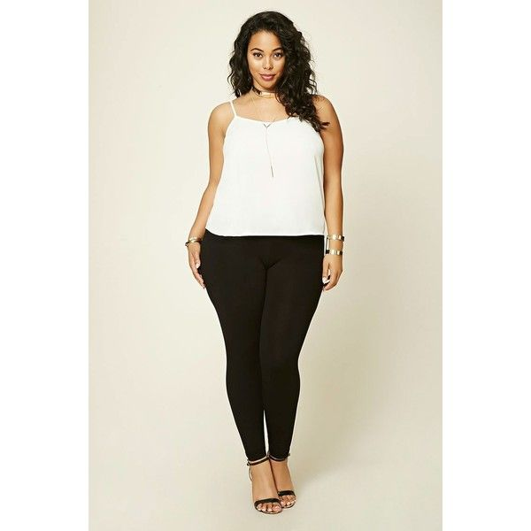 Forever21 Plus Size Leggings ($13) ❤ liked on Polyvore featuring plus size women's fashion, plus size clothing, plus size pants, plus size leggings, black, stretch waist pants, forever 21 pants, forever 21 leggings, legging pants and elastic waistband pants