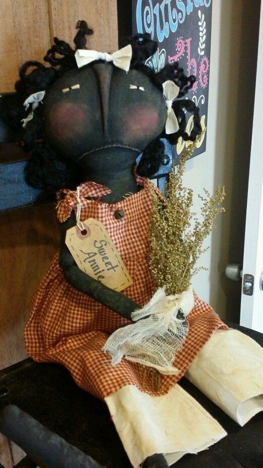 "Primitive Handmade Grungy Black 24"" Folk Art Sweet Annie Doll OOAK #BlackFolkArt #Debbie"