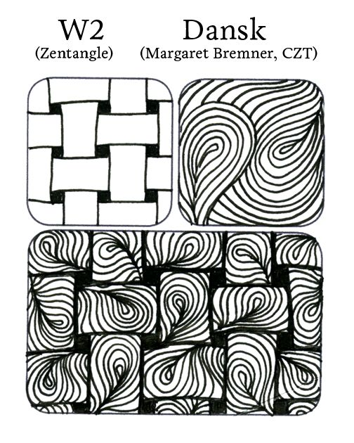 Tangle Remix #6 by Certified Zentangle Teacher Sandy Hunter ~ W2 (Zentangle) & Dansk (Margaret Bremner)