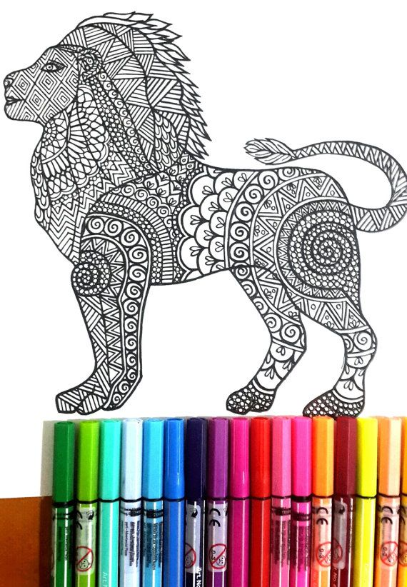 Lion Colouring Page For Grown Ups Perfect Those Who Like Coloring Pages And More