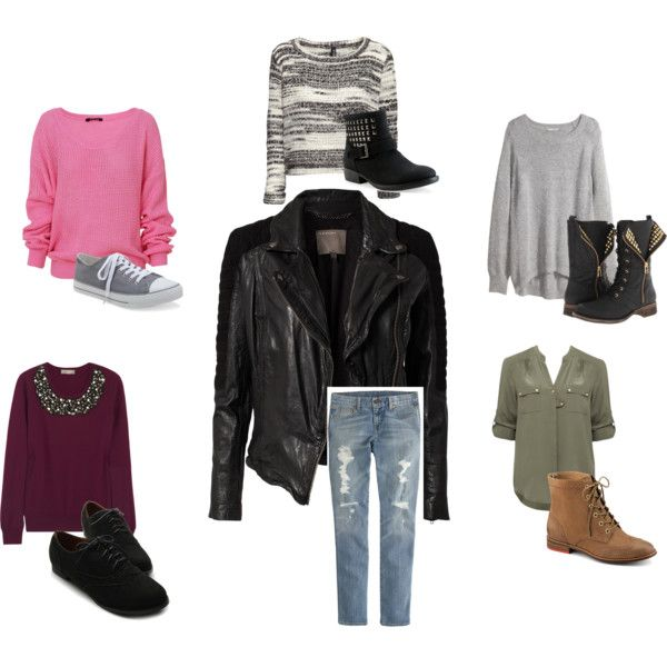 """Leather jacket outfits!!"" by vas0an on Polyvore"
