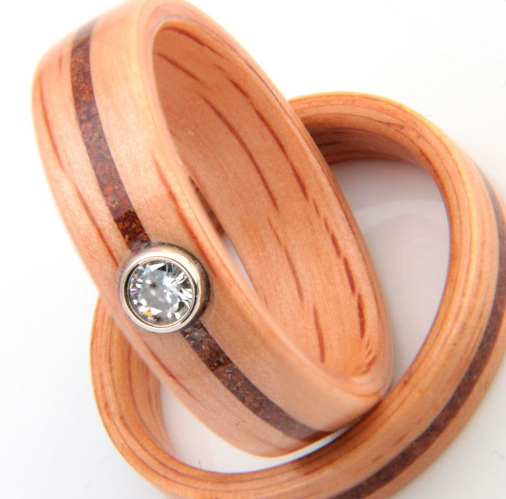 Bowfell Stones and Oak natural wedding rings by Eco Wood Rings. From Eco Wood Rings http://bit.ly/1O7u6aC