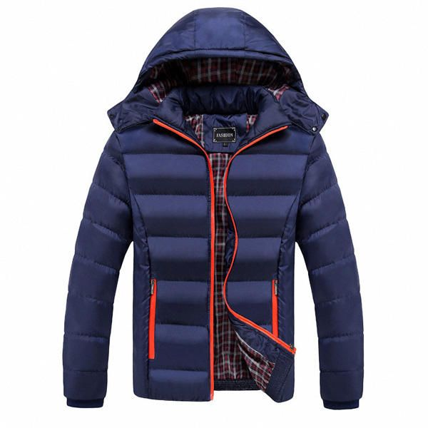 Mens Thick Solid Color Winter Hooded Deatchable Coat Slim Warm Jacket at Banggood