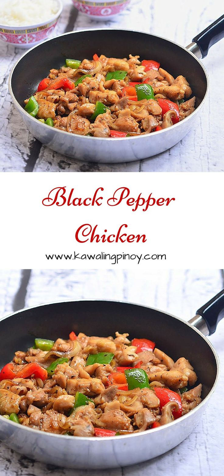 Black Pepper Chicken is a quick stir fry dish made with velveted chicken, bell peppers, oyster sauce, rice wine and black pepper
