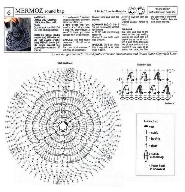 Crochet Bag Drawstring Pattern : Bag diagram Crochet Pattern Design Pinterest