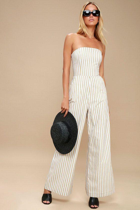 34b5844bfa57 Sundaze White and Yellow Striped Lace-Up Strapless Jumpsuit 1 ...